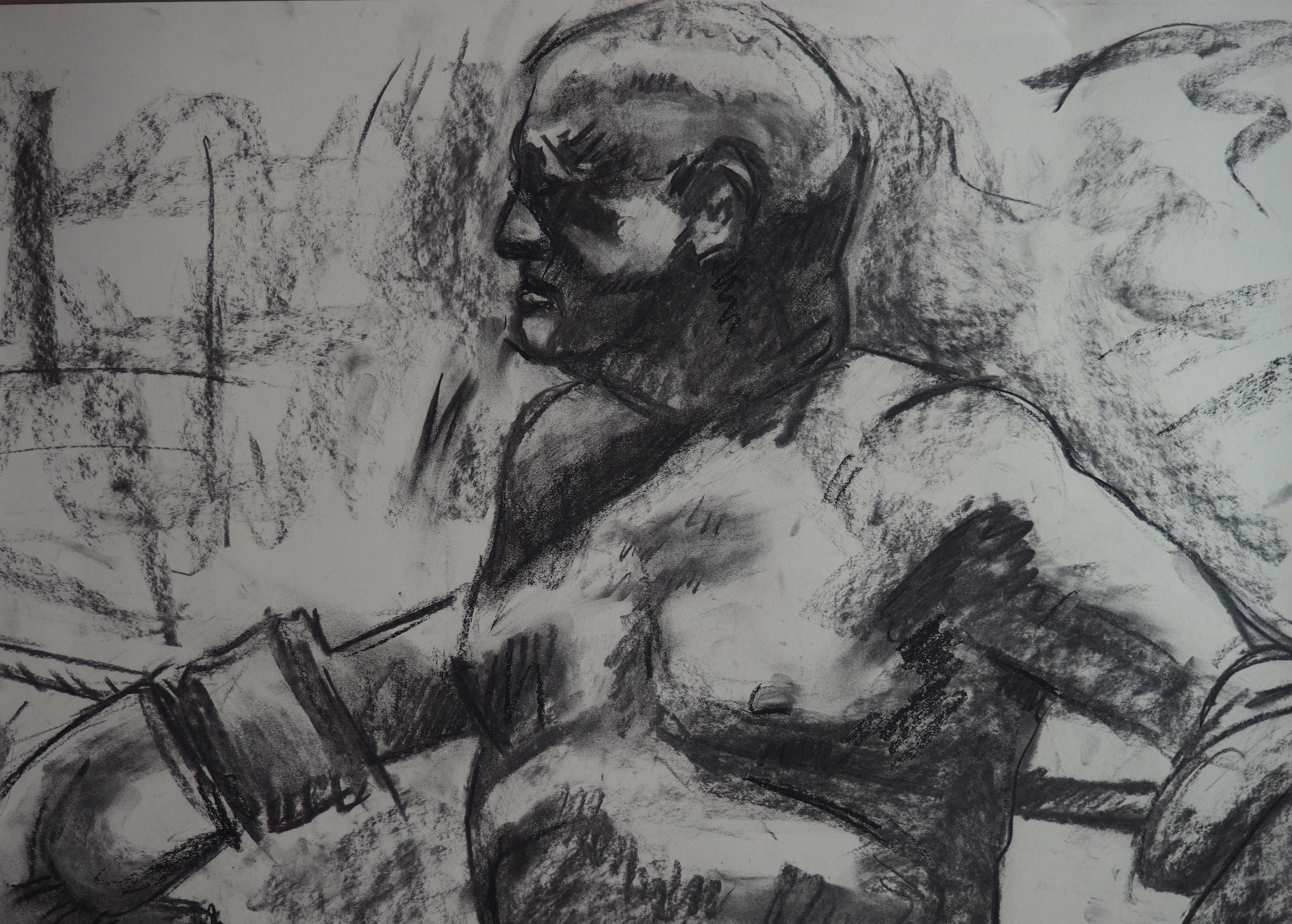 Boxer #1 by Alex Loveless (2018). Charcoal on A2 Paper