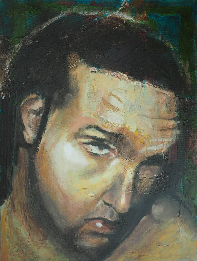 "Self Portrait with Texture by Alex Loveless - Acrylic on Cavnvas Board - 18""x24"""
